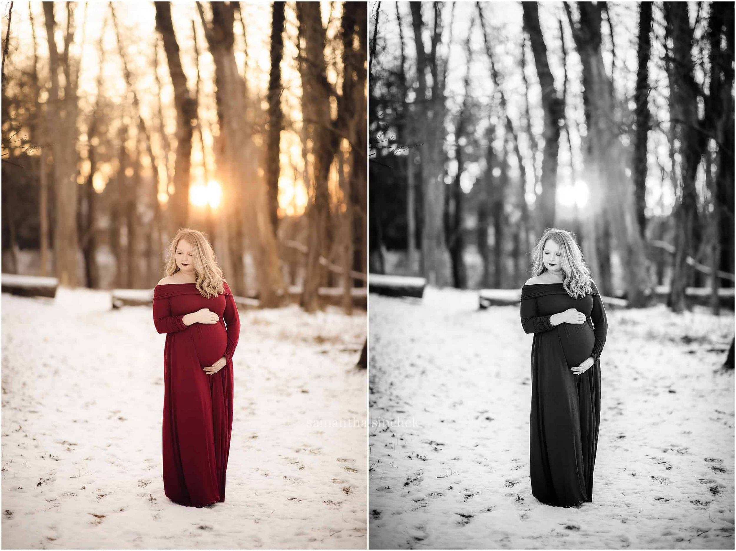 maternity session at Ault Park Cincinnati red dress in the snow Samantha Sinchek