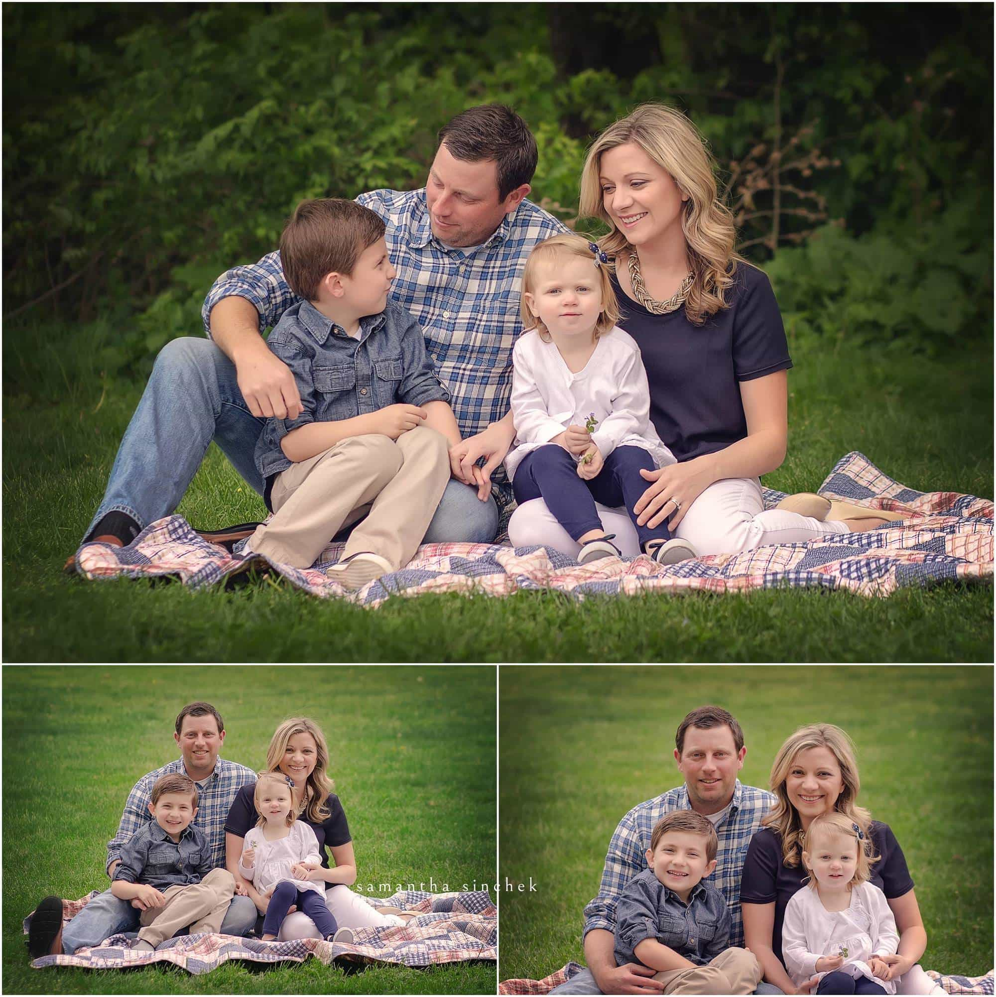 family sits on quilt at sharon woods during mini session with samantha sinchek