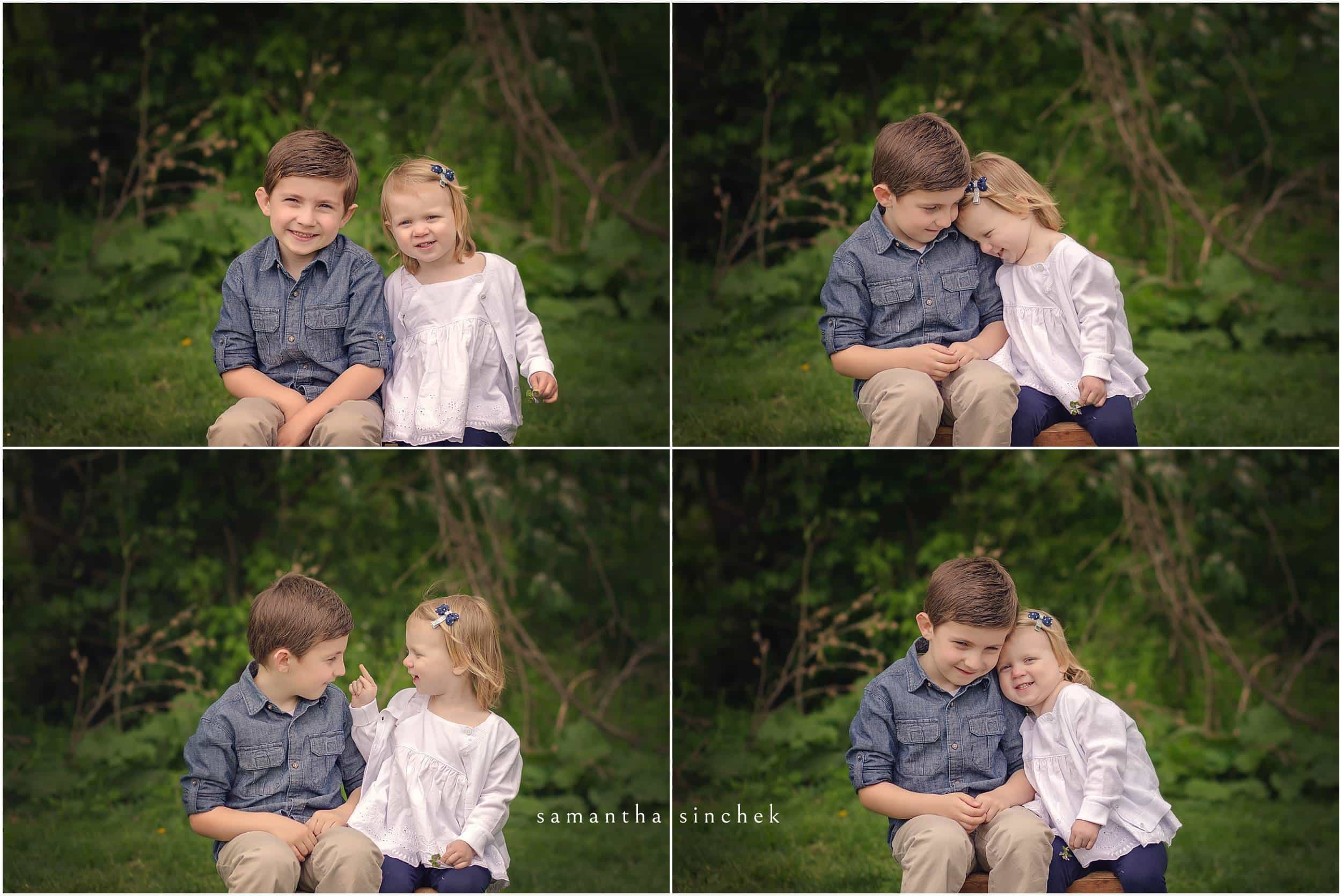 BROTHER AND SISTER POSE WITH CINCINNATI FAMILY PHOTOGRAPHER