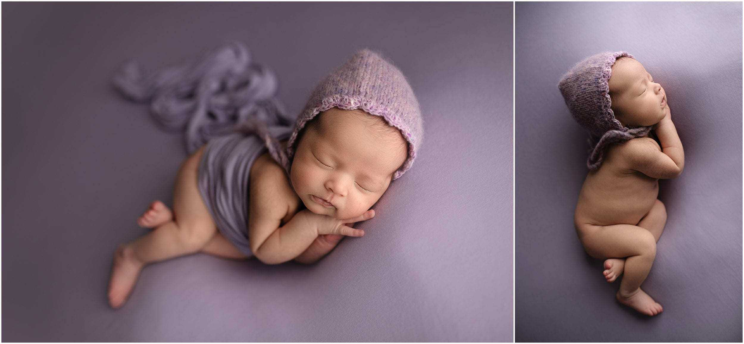 cincinnati newborn photographer takes pictures of baby on lavender wearing bonnet