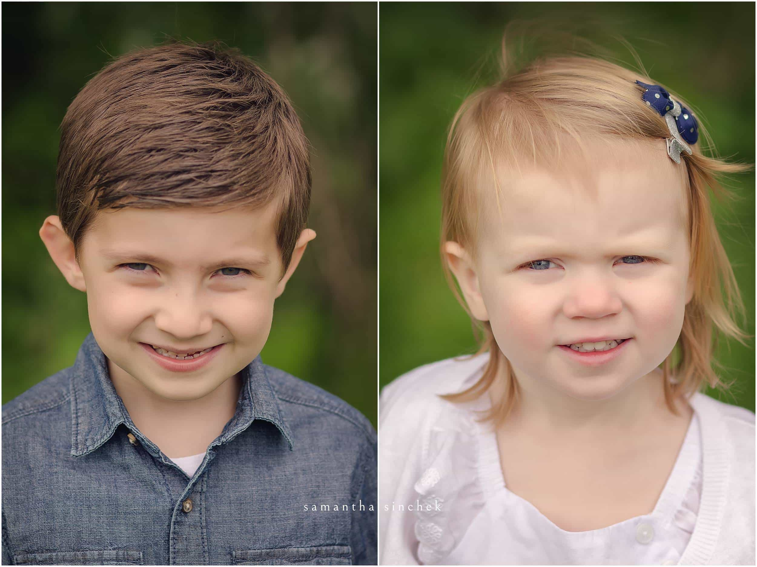 brother and SISTER close up PORTRAITS at sharon woods SAMANTHA SINCHEK PHOTOGRAPHY