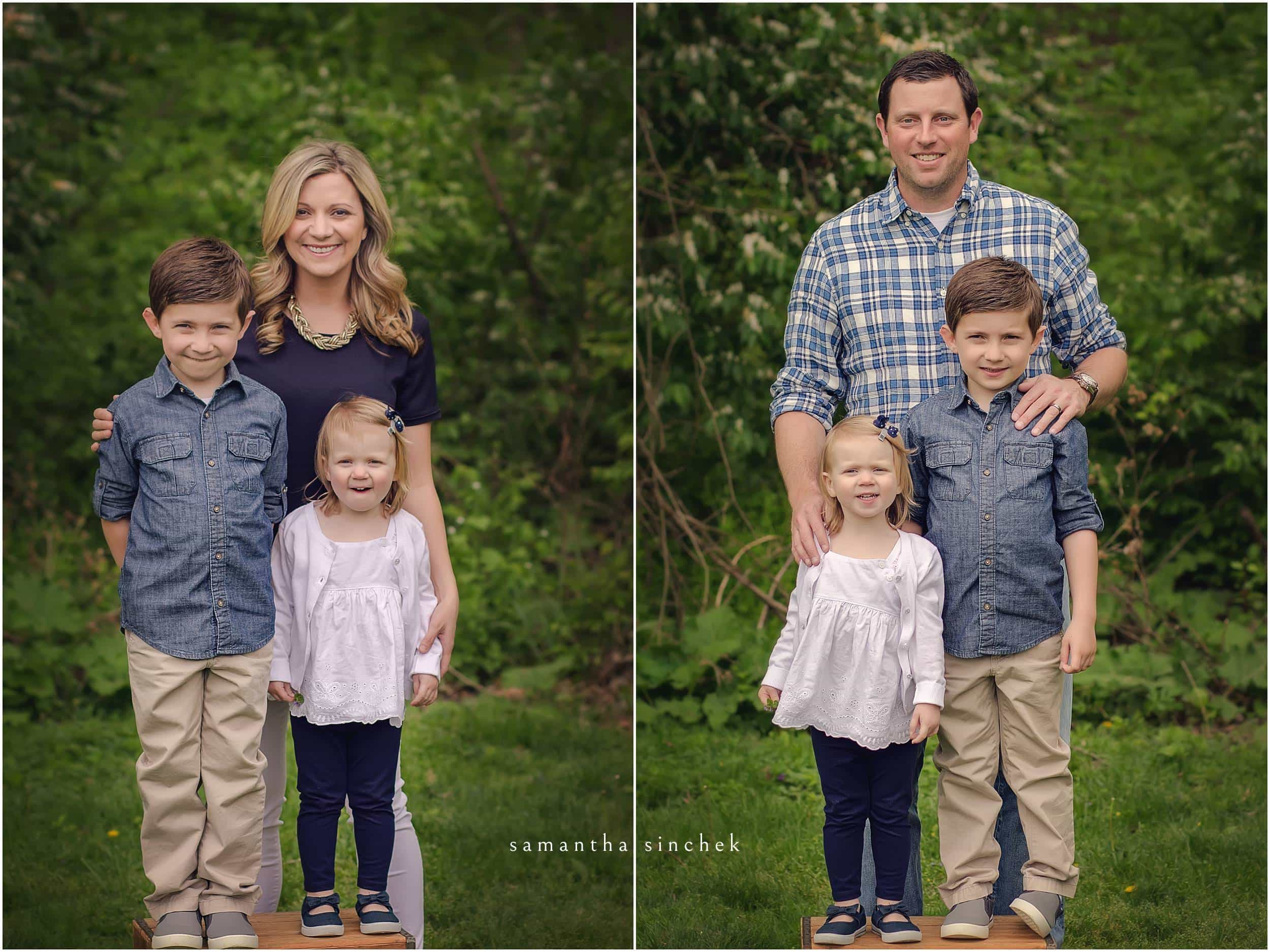 mother and father with children at family mini session Sharon woods with samantha SINCHEK