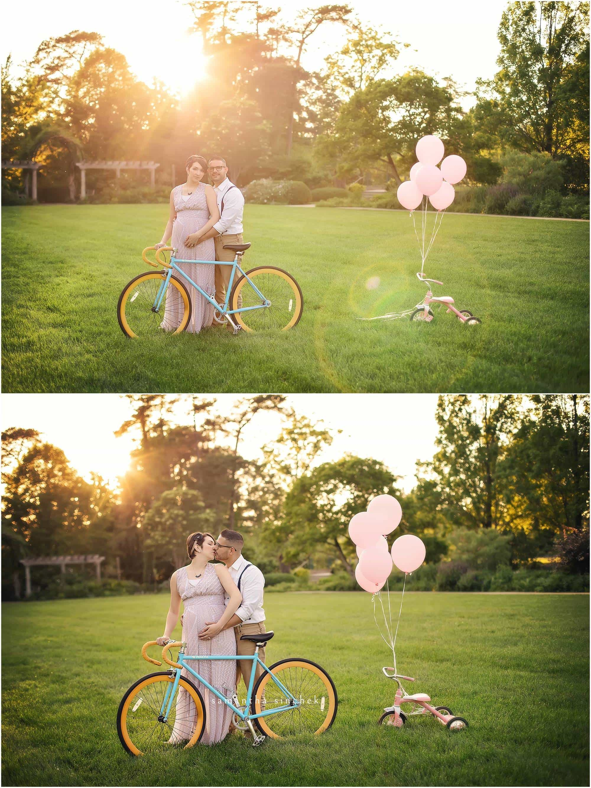 parents to be kiss in front of a bike at ault park in cincinnati with samantha sinchek photography