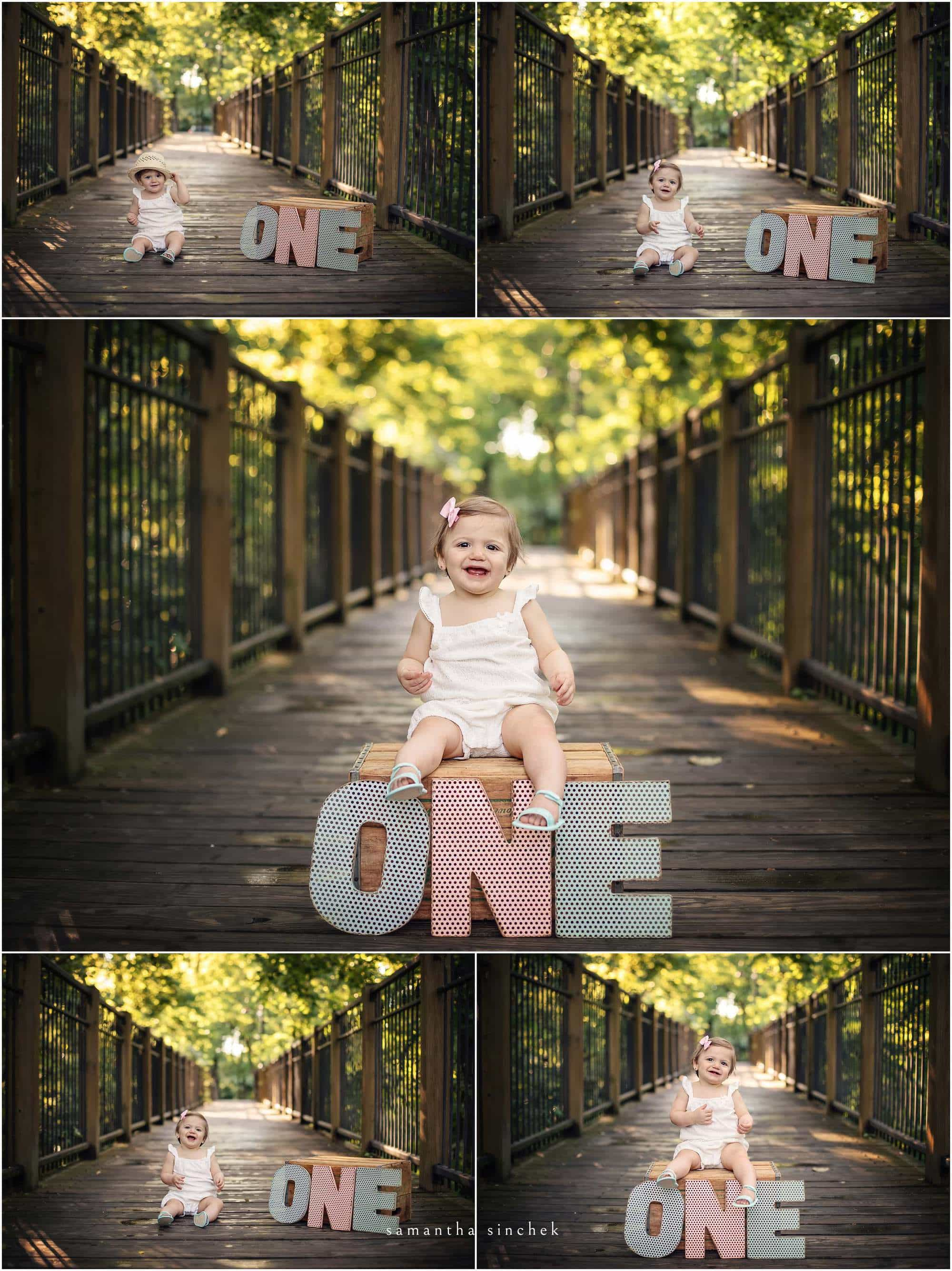 one year old girl cake smash at sharon woods with cincinnati photographer Samantha Sinchek