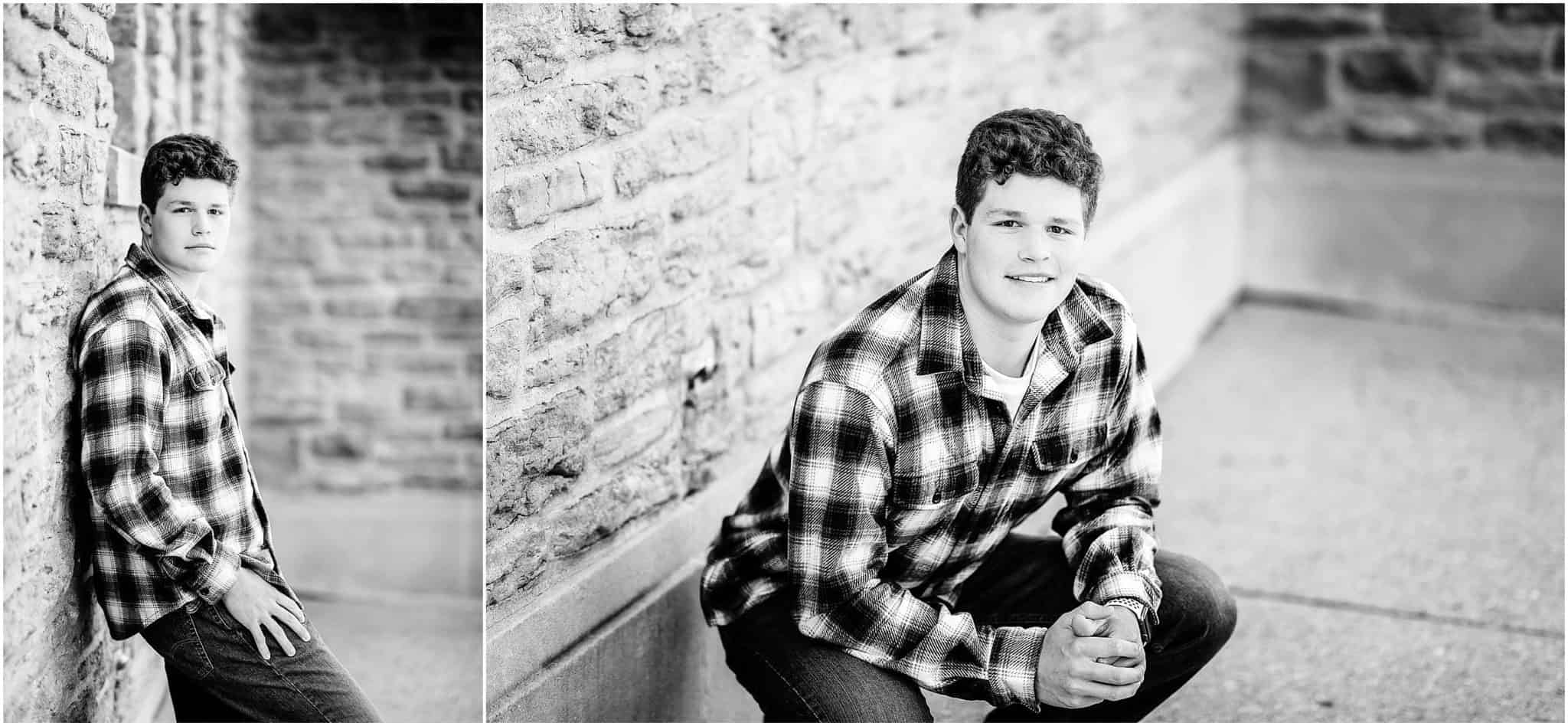 mason high school ohio football player senior pictures at ault park with Samantha Sinchek Photography