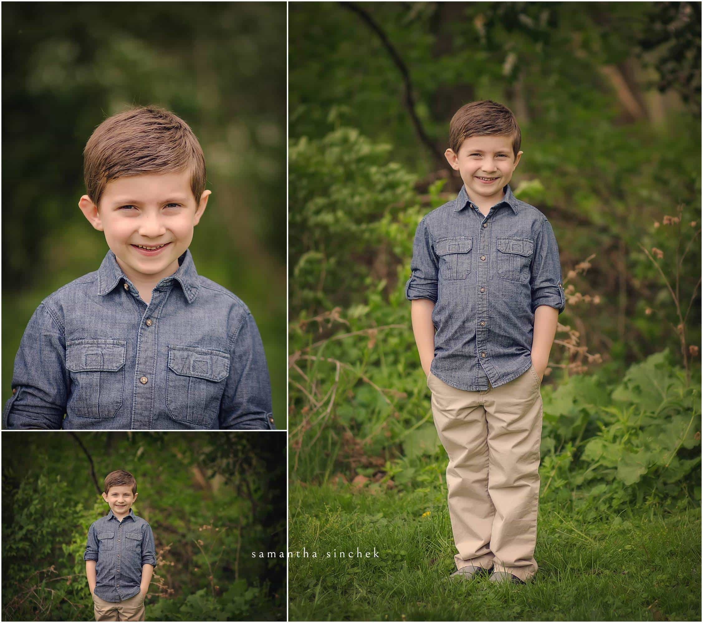 BOY POSES DURING CINCINNATI FAMILY PHOTOGRAPHY SESSION WITH SINCHEK