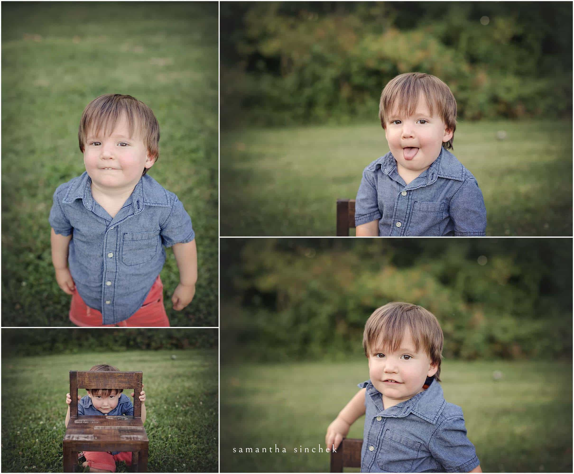young boy makes silly faces at family session with samantha sinchek photography of cincinnati