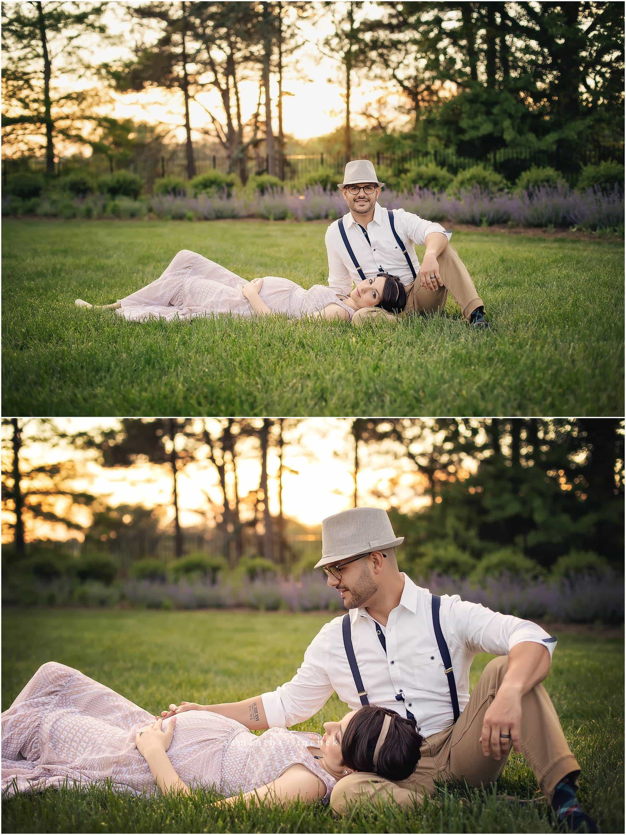 maternity mother lays in grass with husband at cincinnati maternity session with samantha sinchek photography