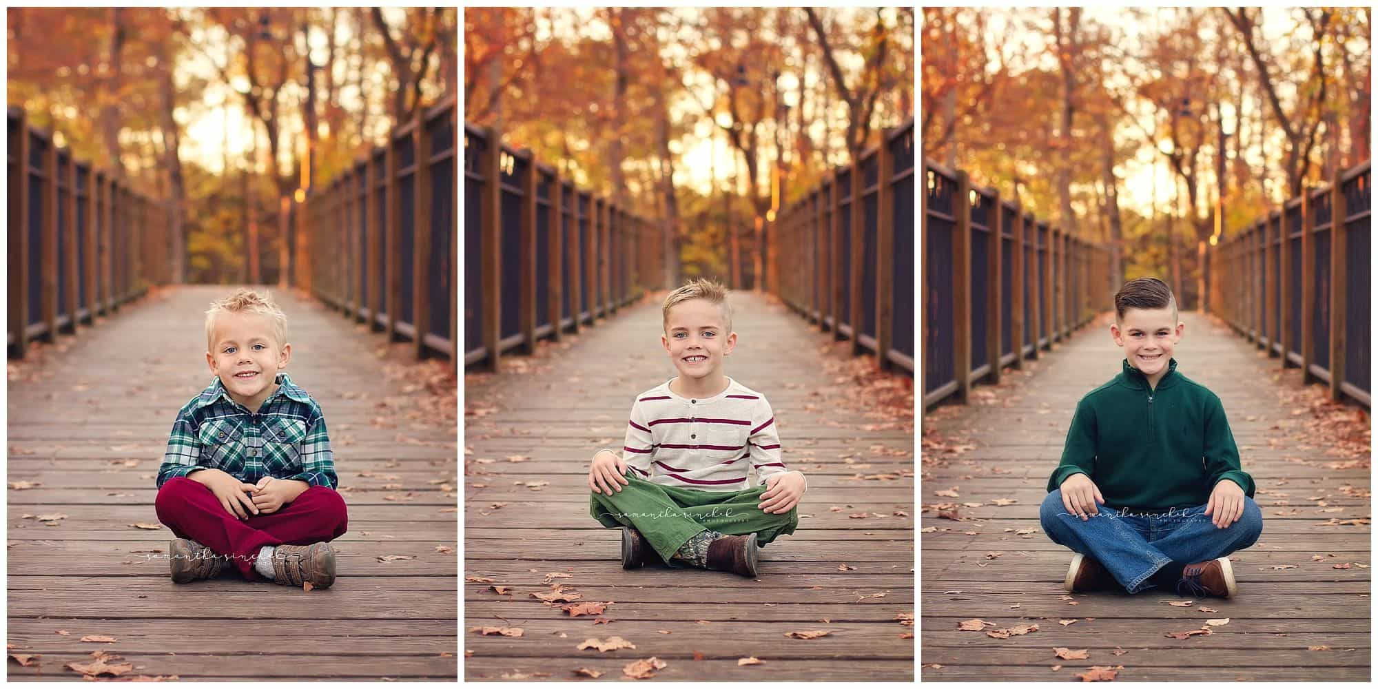 brothers sitting on bridge at sharon woods during samantha sinchek photography fall session with family