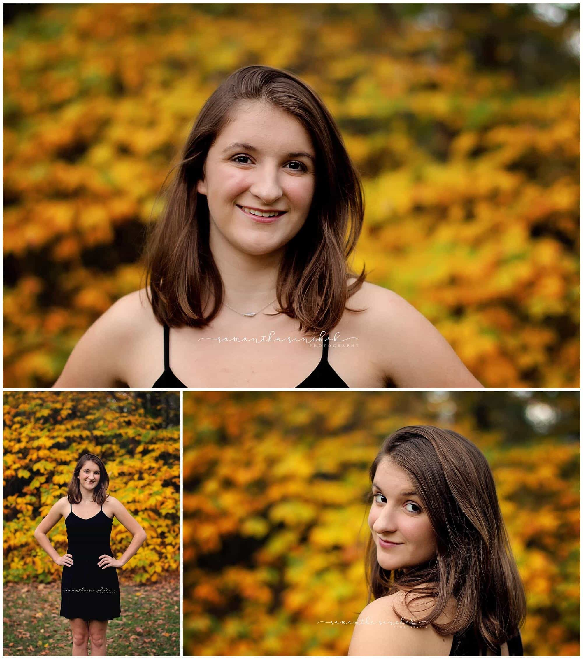high school senior girl poses in front of yellow foliage at ault park in cincinnati