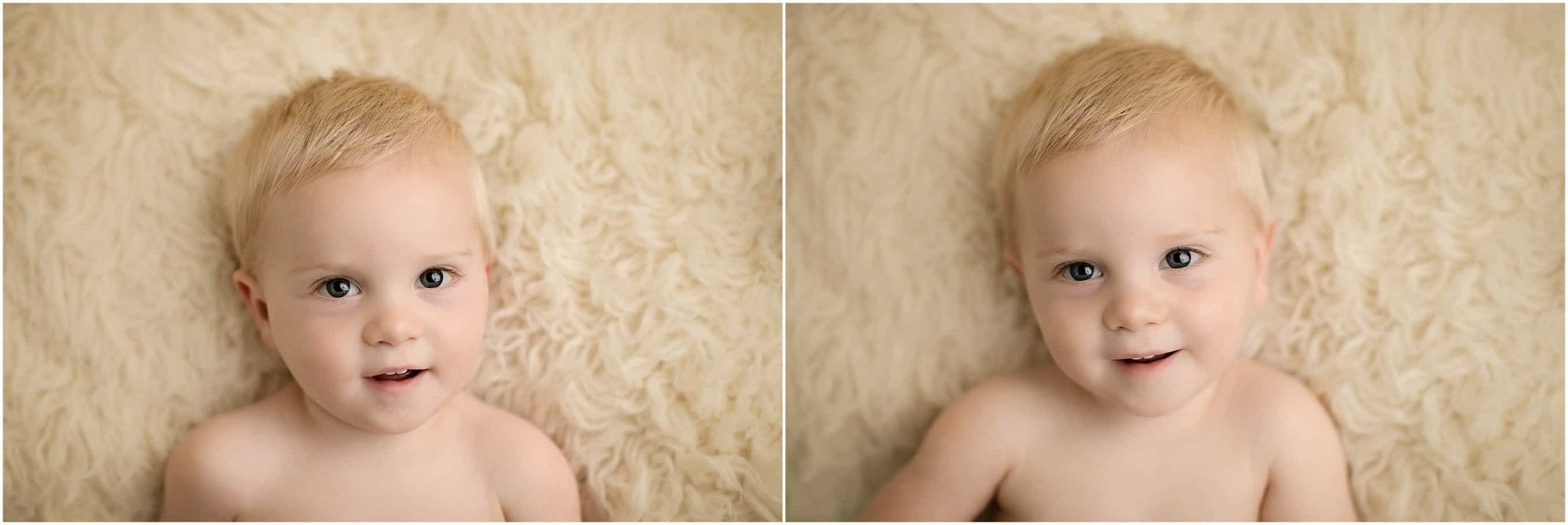 newborn looks at camera at pictures with cincinnati newborn photographer sinchek