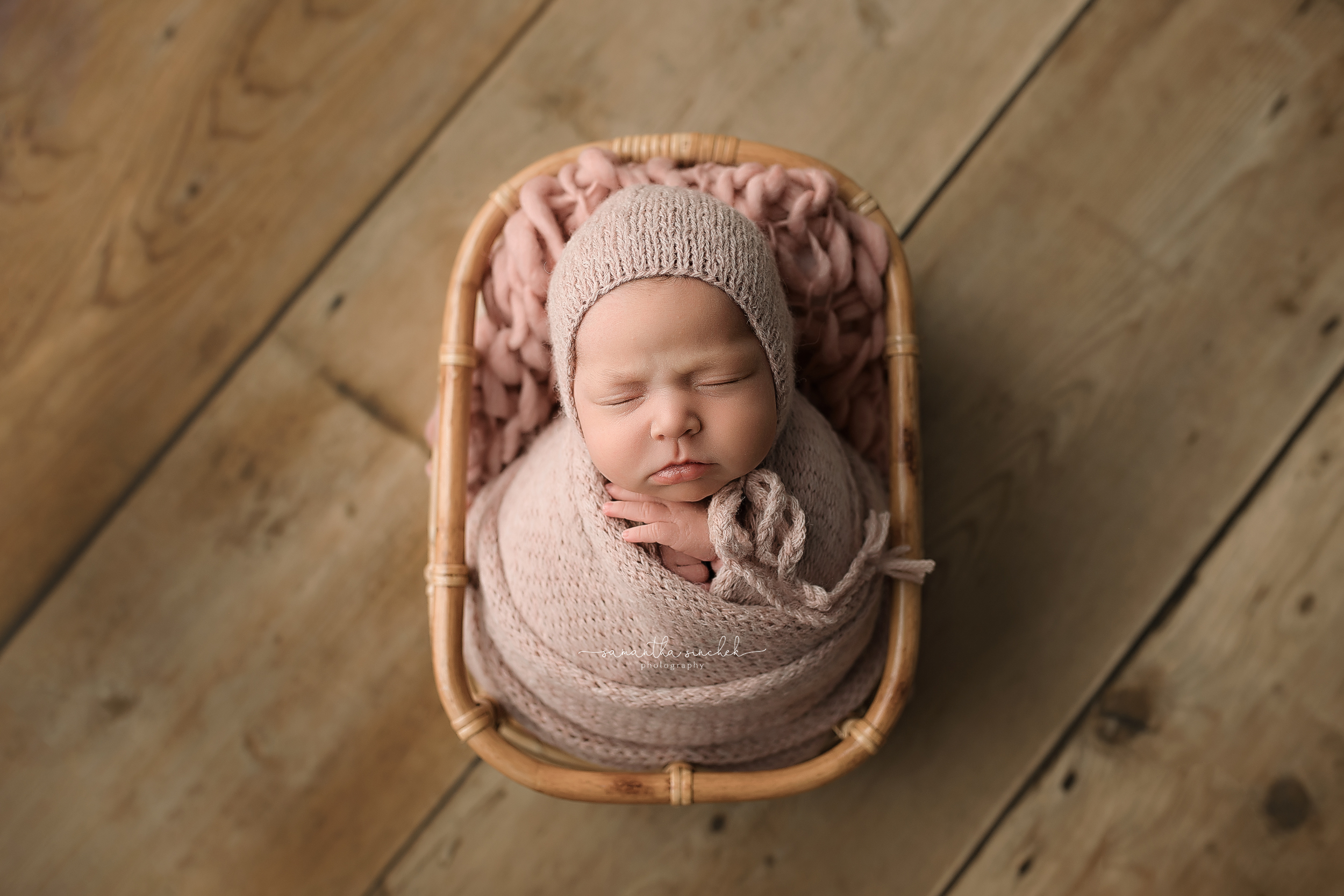 16 day old newborn baby asleep in basket at pictures with Samantha Sinchek Photography