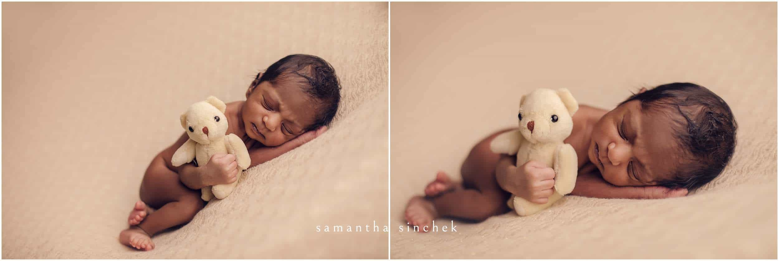 baby girl holds a teddy bear at session in cincinnati ohio with sinchek