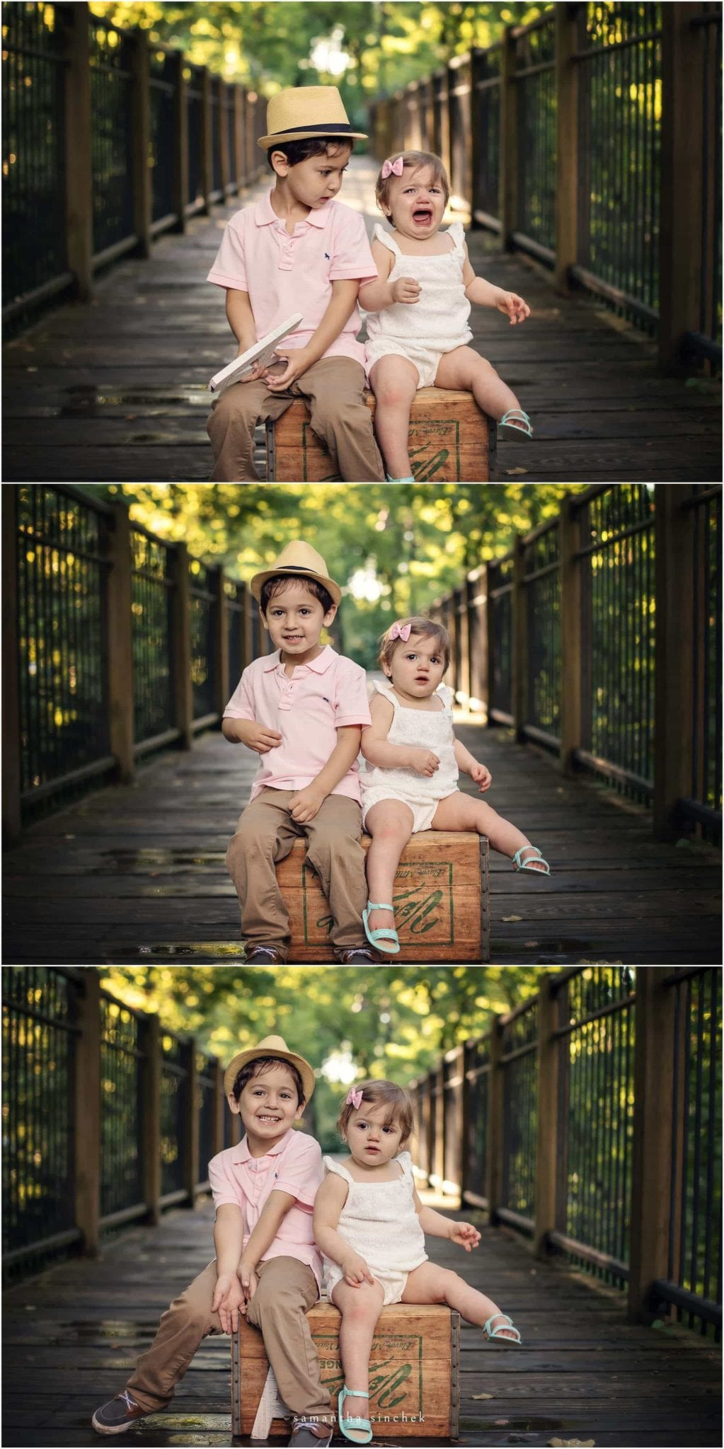 brother and sister sit on wooden box at sharon woods with samantha sinchek photography