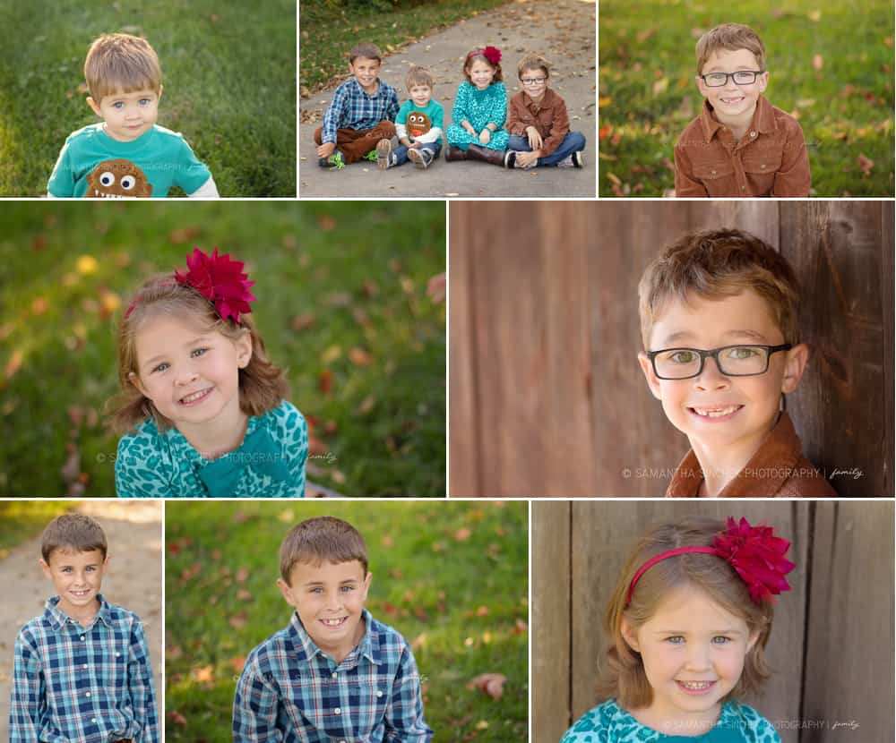 multiple poses from family session at carter park in mason ohio