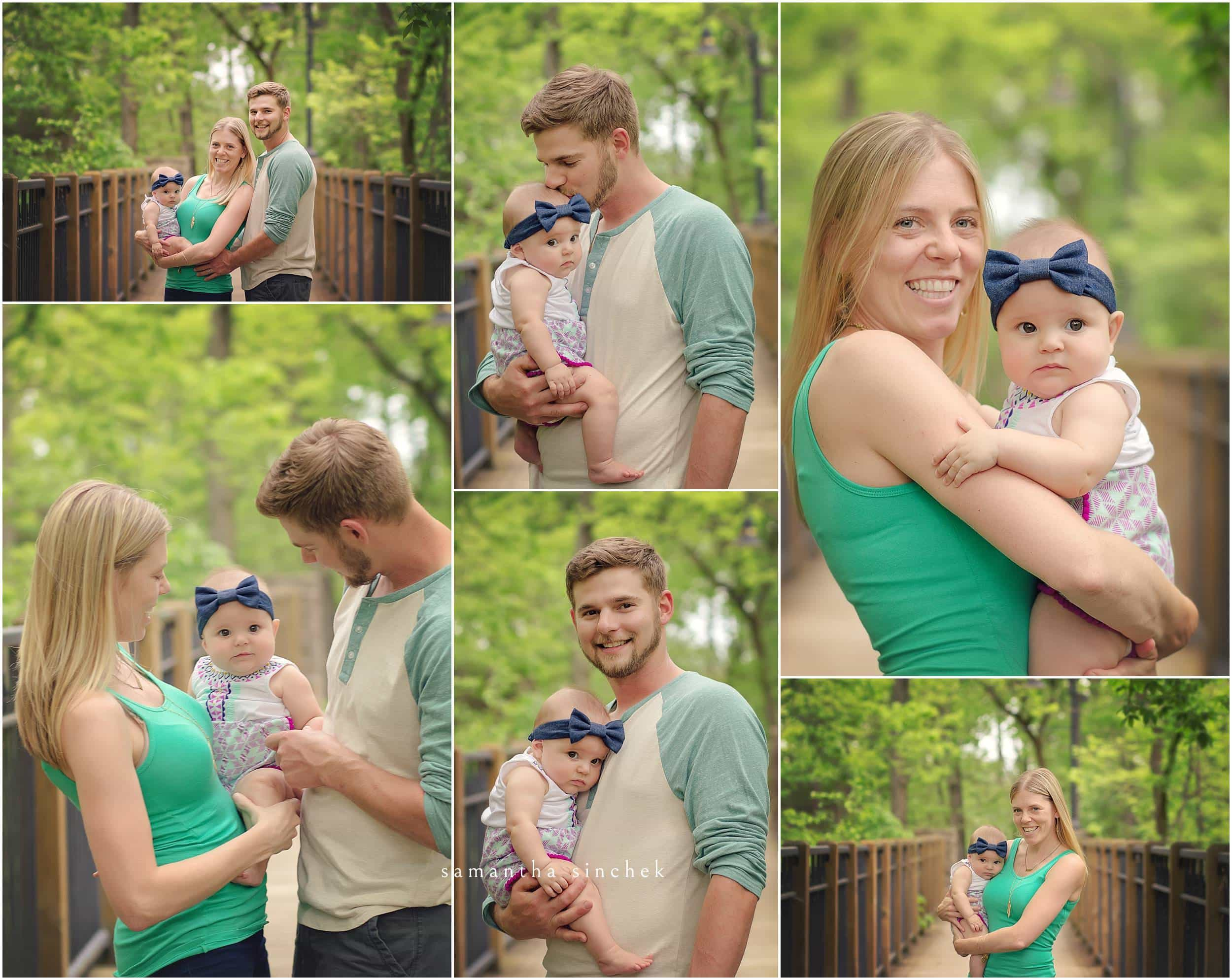 family poses at sharon woods during 6 month session with Samantha sinchek photography of cincinnati ohio