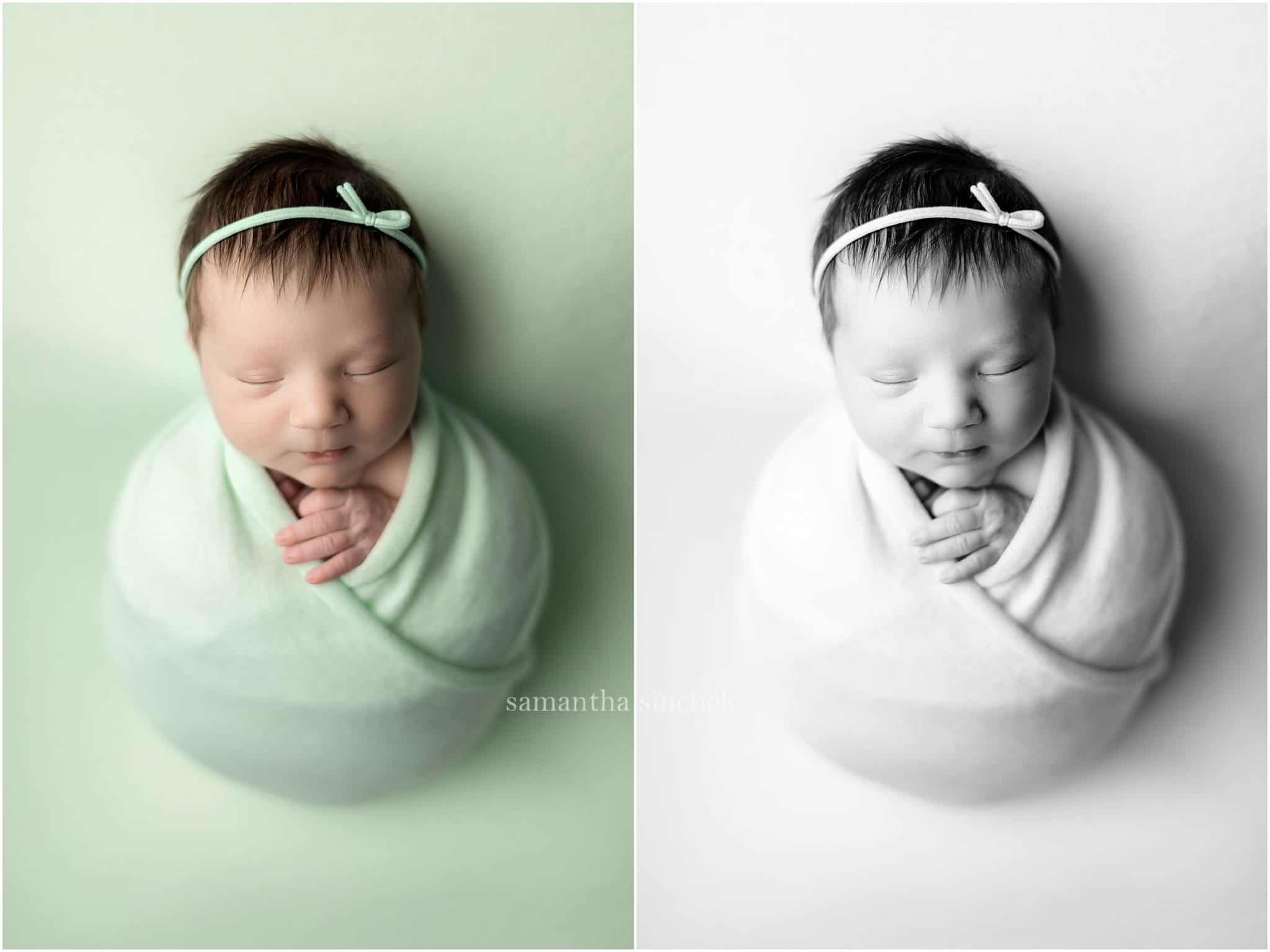 newborn girl wrapped in mint color wearing headband with Samantha Sinchek Photography