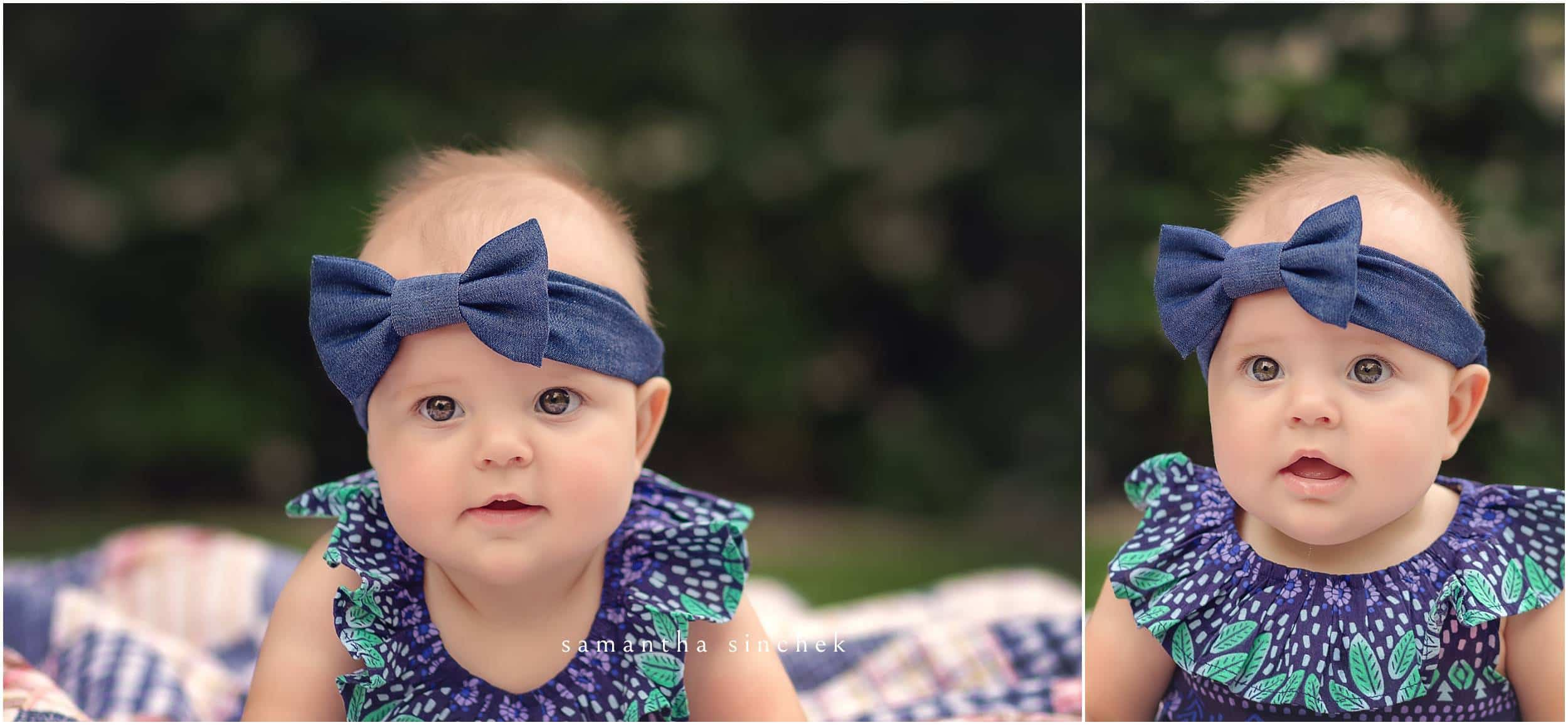 baby girl looks at samantha sinchek at 6 month session