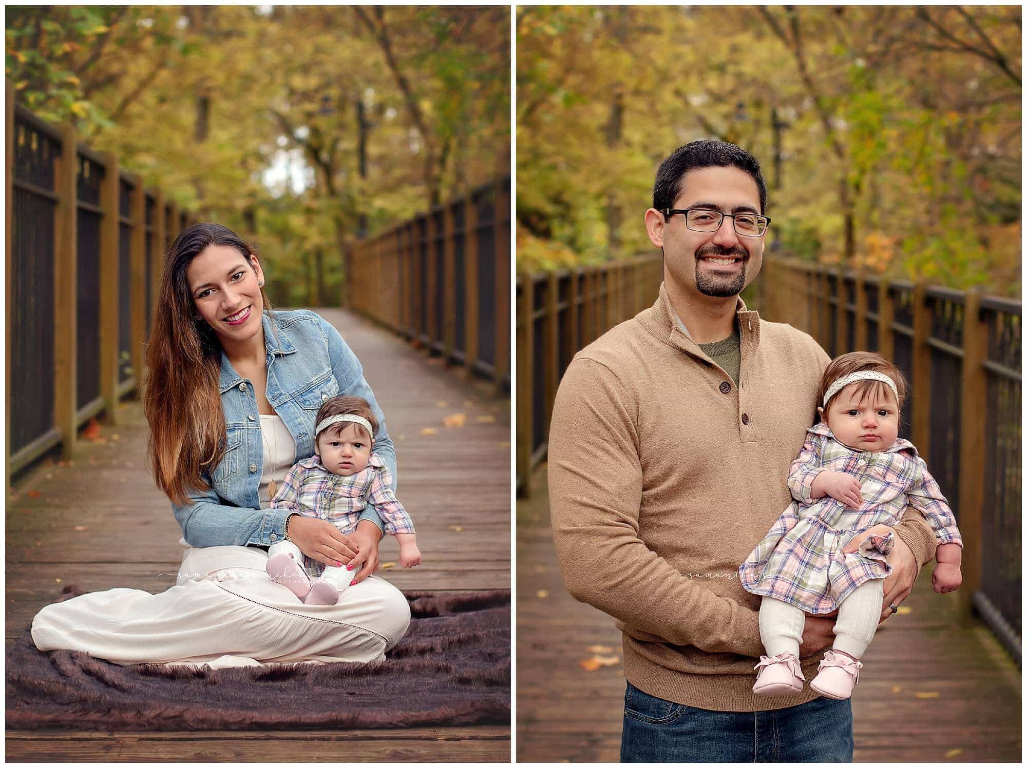 mother and father pose with three month old daughter at their pictures
