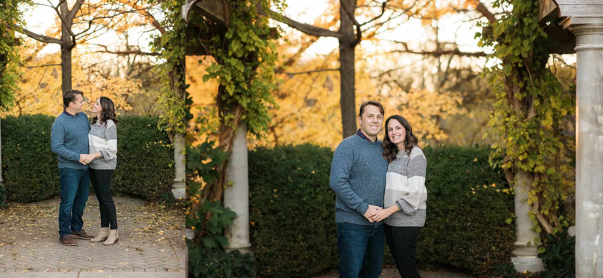 couple smiles at Ault Park family pictures