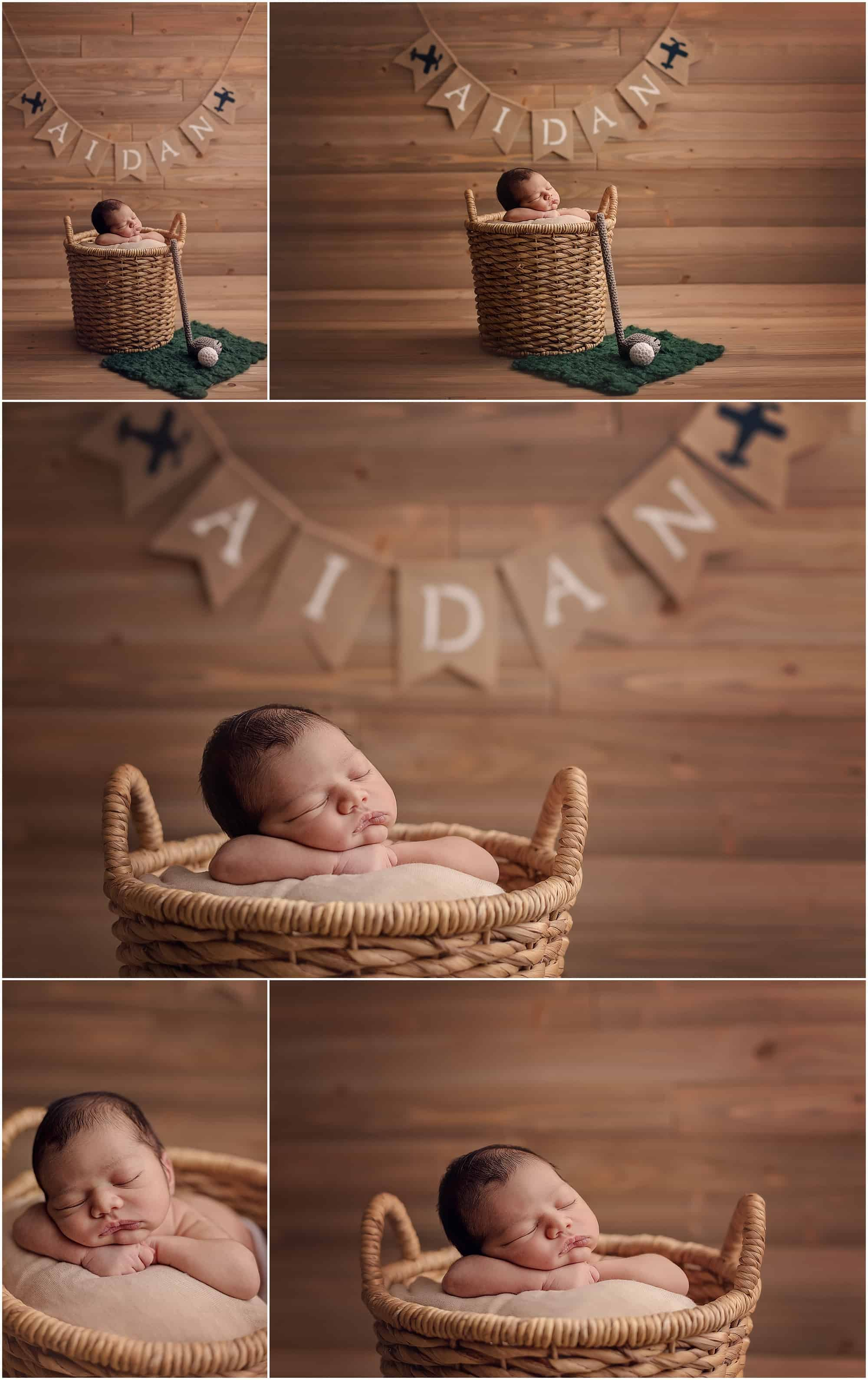 golf newborn setup with sinchek photography of Cincinnati, top newborn photographer
