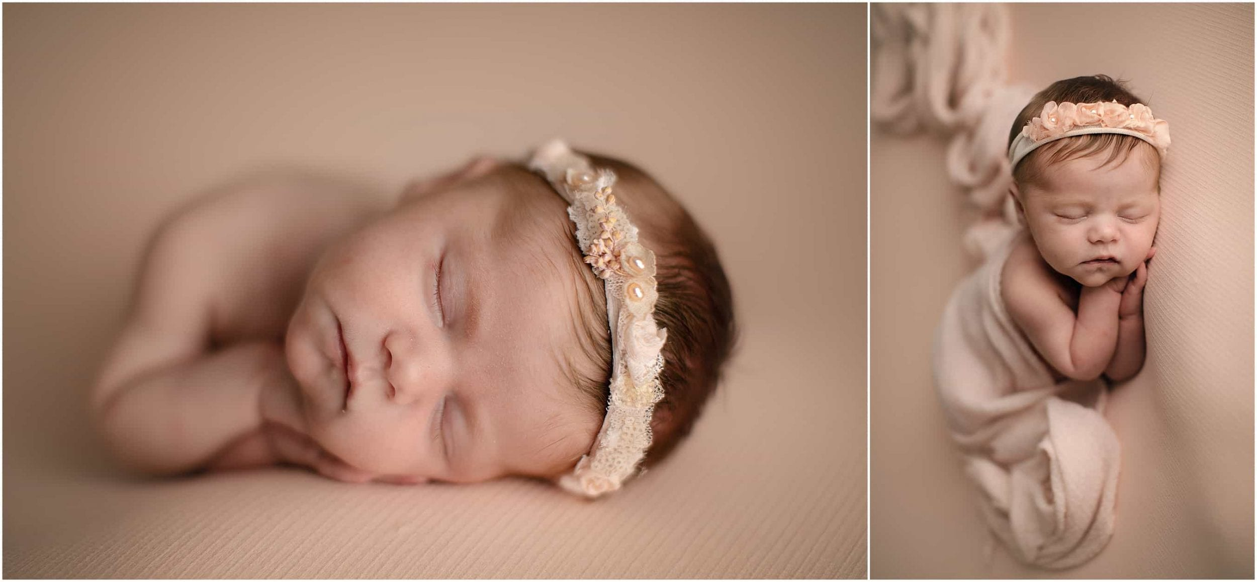 newborn girl sleeping wearing headband at Cincinnati Ohio newborn photographer sinchek