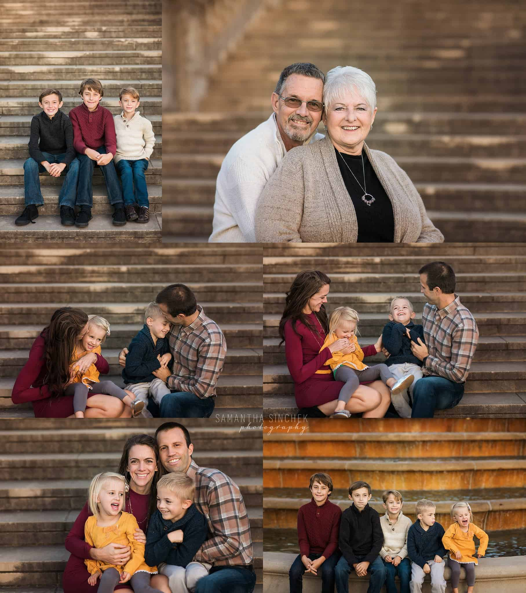 extended family session with Samantha Sinchek cincinnati photographer on stairs at Ault park