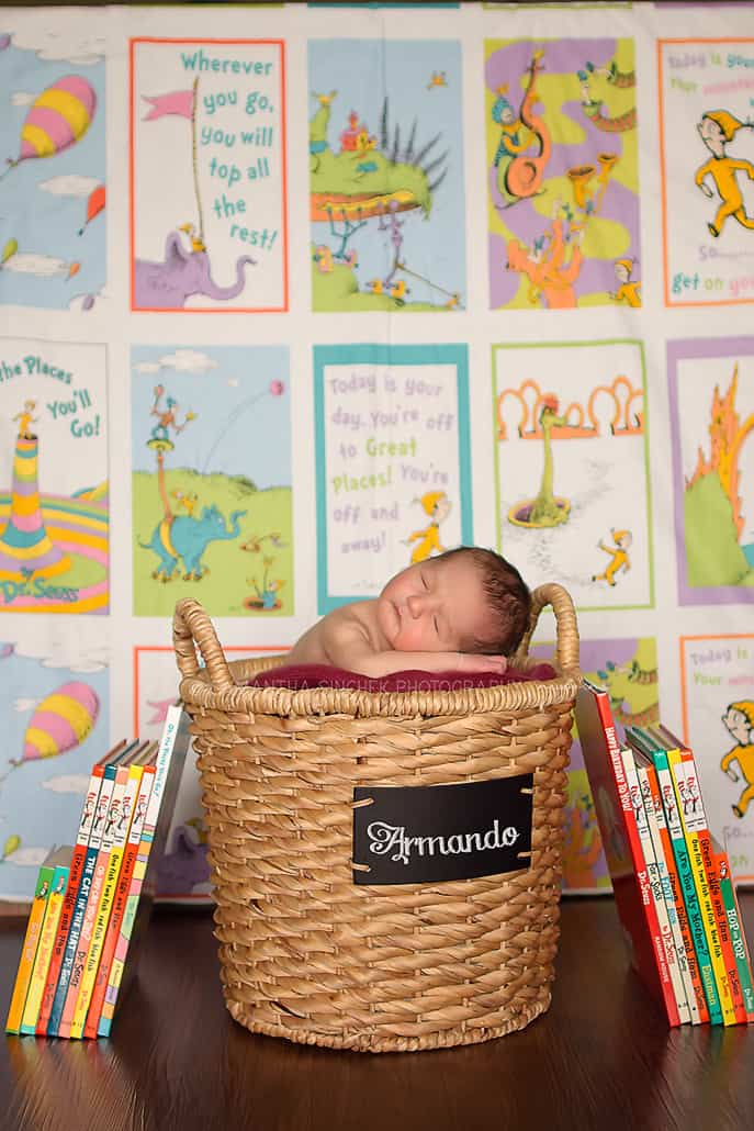 newborn boy sleeps in basket in front of dr. suess blanket