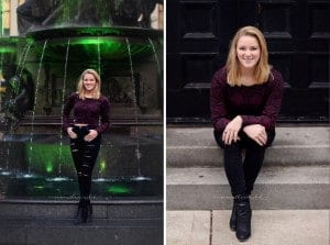 high school senior girl poses at fountain square in downtown cinicnnati