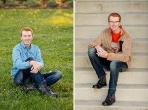 various senior boy poses from ault park senior session
